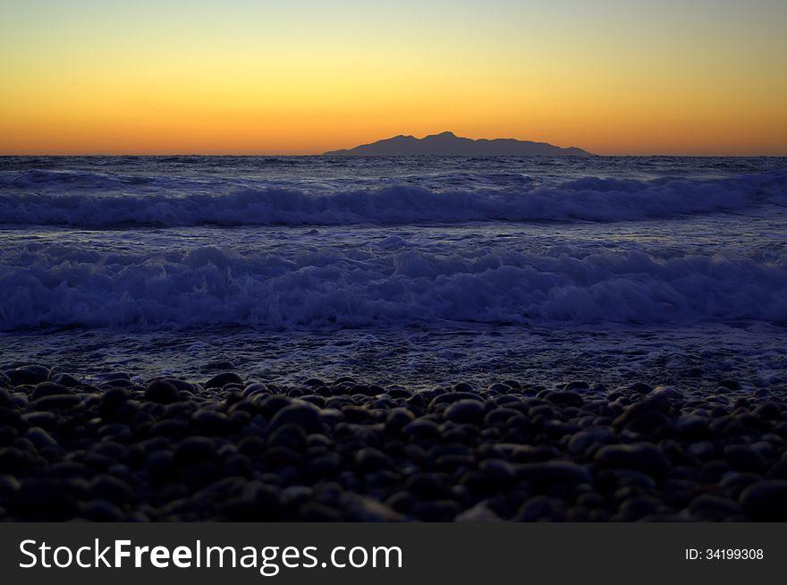 Volcanic pebbels Santorini beach