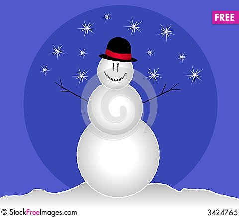 Free Smiling Snowman Clip Art Royalty Free Stock Photo - 3424765