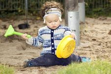 Free Baby In A Sandbox. Royalty Free Stock Image - 3420016