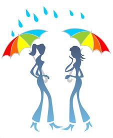 Girls Talk Under A Rain Stock Photography