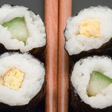 Free Japanese Sushi With Chopsticks Royalty Free Stock Images - 3423539