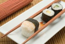 Free Japanese Sushi With Chopsticks Royalty Free Stock Image - 3423596