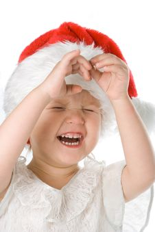 Baby In Santa Claus Hat Royalty Free Stock Photography