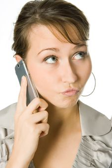 Woman Calling By Cell Phone Stock Photo