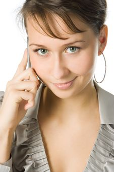 Woman Calling By Cell Phone Stock Photos