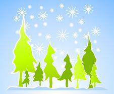 Free Christmas Tree Scene With Snow Stock Photo - 3424770