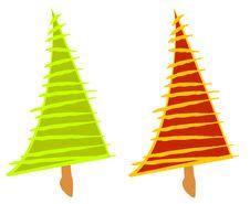 Free Artsy Abstract Christmas Trees Royalty Free Stock Photo - 3424775