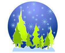 Free Christmas Tree Snow Scene 2 Royalty Free Stock Image - 3424776
