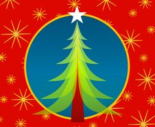 Free Red Blue Christmas Tree Card Stock Photo - 3424820