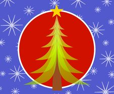 Free Red Blue Christmas Tree Card 2 Stock Images - 3424824