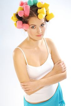 Free A Woman In Hair Curlers Royalty Free Stock Image - 3425586
