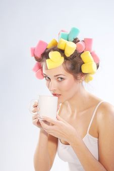 Free A Woman In Hair Curlers Royalty Free Stock Photo - 3425605