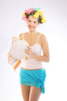 Free A Woman In Hair Curlers Royalty Free Stock Photos - 3425618