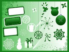 Free Christmas Symbols. Green. Stock Images - 3427694