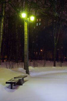 Free Bench In A Snowy Park At Night Stock Photos - 3427753