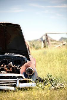 Abandoned Car In Field Stock Images