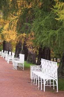 Free White Benches Royalty Free Stock Images - 3429729