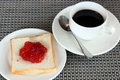 Free Strawberry Jam On Bread And Coffee Royalty Free Stock Photos - 34203388
