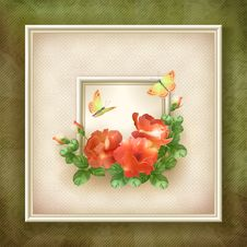 Free Border Frame Background Flower Butterfly Design Stock Photos - 34202873