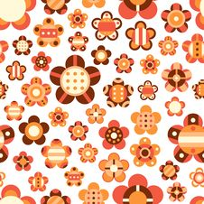 Free Seamless Pattern With Large And Small Bright Flowe Stock Images - 34210034