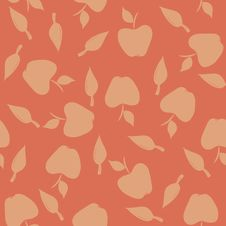 Free Seamless Pattern With Silhouettes Apples And Leave Royalty Free Stock Image - 34215066