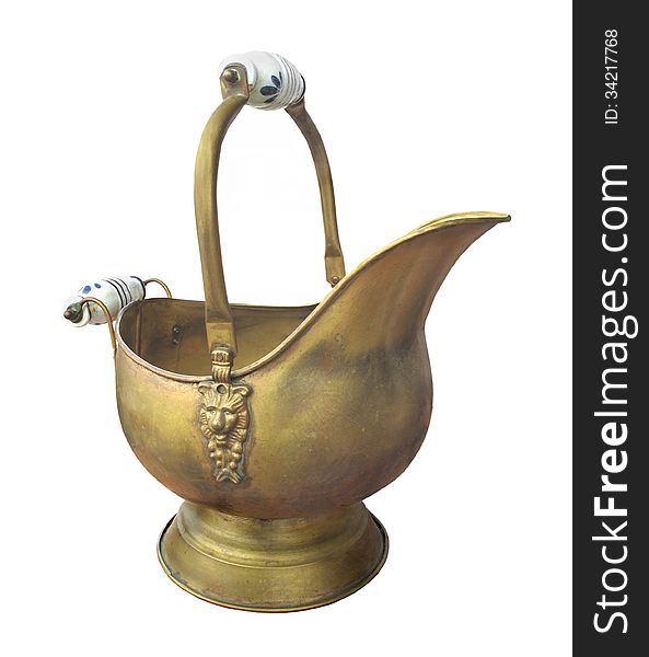 Antique brass coal scuttle isolated.