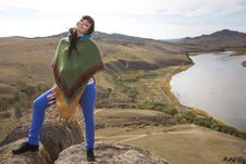 Free Woman On A Rock In The Mountains Royalty Free Stock Photos - 34261768