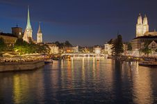Free Summer Night In Zurich Royalty Free Stock Photos - 34263358