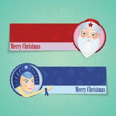 Free Christmas Banners With Santa Claus And Snow Maiden Stock Images - 34270764