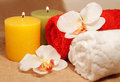 Free Two Towels With Orchid And Candles Stock Image - 34281881