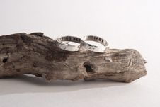 Free Hammered Rings On Driftwood Stock Photography - 34283592