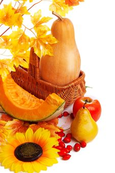 Autum Harvest Fruits And Vegetables In Basket With Yellow Leaves Royalty Free Stock Image