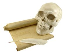 Free Human Skull With Shabby Scroll Stock Images - 34287804