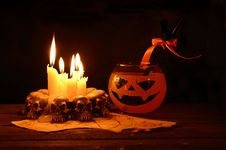 Free Halloween Drink With Evil Candles Royalty Free Stock Photos - 34288818