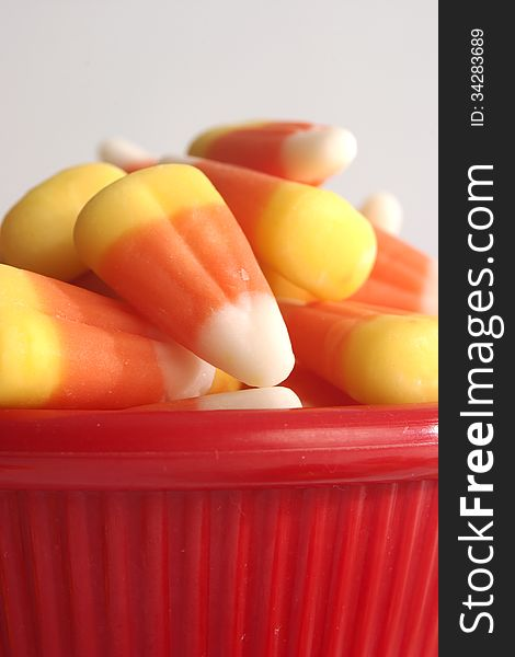 Candy Corn in a Red Bowl