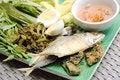 Free Fried Mackerel Fish,chili Sauce And Fried Vegetable Stock Photo - 34291460