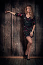 Free Beauty Model In Short Dress And High-heel Shoes Over Wooden Wall Background Stock Photos - 34294753
