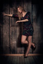 Free Beautiful Lady Dancing Over Wooden Wall Background Royalty Free Stock Photo - 34294785