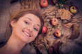 Free Autumn Beauty Woman Portrait With Fruits And Leaves In Her Golden Hair Royalty Free Stock Images - 34296099