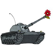 Free Tank With Flower In Gun Royalty Free Stock Photos - 34291778