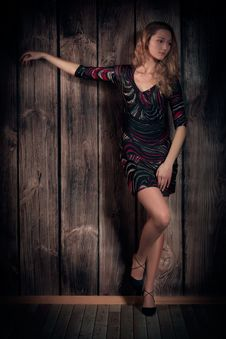 Free Natural Looking Beautiful Lady In A Short Dress Posing Over Wooden Wall Background Royalty Free Stock Image - 34294716