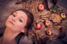 Free Dreamy Autumn Girl With Leaves And Fruits In Her Hair Royalty Free Stock Image - 34296196