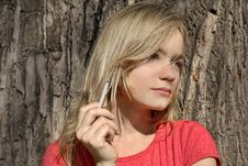 Blond Girl With A Cigarette Stock Images