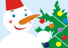 Snowmen And Christmas Fur-tree Royalty Free Stock Photo