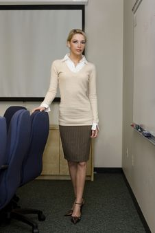 Beautiful Blonde Business Woman Stock Photo