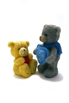 Two Lovely Teddy Bears & I Love You Stock Image