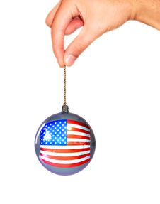 Ball With Usa Flag In The Hand Stock Photos