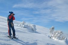 Free Photographer In Snow Mountain Royalty Free Stock Image - 3436416