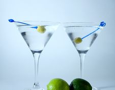 Cocktail Glasses With Olives Royalty Free Stock Photography