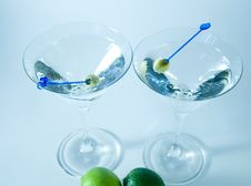 Cocktail Glasses With Olives C Stock Photography
